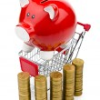 Piggy bank and shopping cart on white — Stock Photo