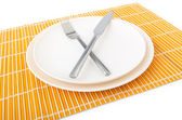 Food utensils served in plate — Stock Photo