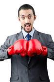Podnikatel s boxerské rukavice — Stock fotografie