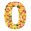 Alphabet made of many fruits and vegetables — Stock Photo #8876589