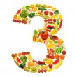 Stock Photo: Alphabet made of many fruits and vegetables