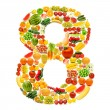 Alphabet made of many fruits and vegetables — Stock Photo #8876714