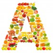 Alphabet made of many fruits and vegetables — Stock Photo