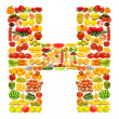 Alphabet made of many fruits and vegetables — Stock Photo #8878743