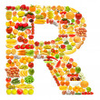 Alphabet made of many fruits and vegetables — Stock Photo #8879388