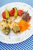 Grilled vegetables served in the plate — ストック写真