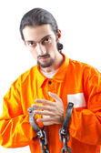 Convicted criminal on white background — Stock Photo