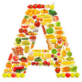 Alphabet made of many fruits and vegetables — Foto de Stock