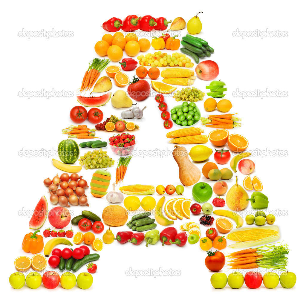 Alphabet made of many fruits and vegetables — Stock Photo ...