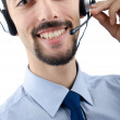 Call center operator with headset - Stok fotoğraf