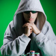 Player in casino and chips - Stock fotografie