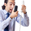 Angry businessman on the phone - Stockfoto