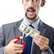 Mcutting money on white — Stock Photo #9099685