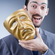 Businessman with mask concealing his identity — Stockfoto