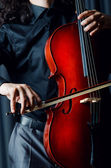 Cello player during performance — Stock Photo