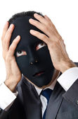 Industrial espionage concept with masked businessman — Stock Photo