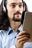 Student musik med tablet pc — Stockfoto