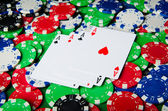 Many cards and casino chips — Stock Photo