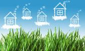 Casas en el cielo — Foto de Stock