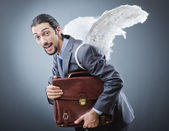 Business angel with money — Stock Photo