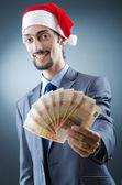 Papai Noel com as notas de euro — Fotografia Stock