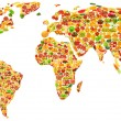 Stock Photo: World map made of many fruits and vegetables