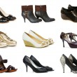 Stock Photo: Collection of various shoes isolated on white