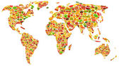 World map made of many fruits and vegetables — Stock Photo