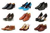 收集的各种鞋上白色隔离 — 图库照片