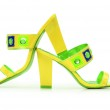 Green Female shoes on white background — Stock Photo #9174825