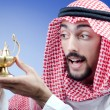 Arab and ancient golden lamp — Stock Photo