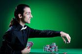 Jogador no casino e fichas — Fotografia Stock