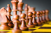 Chess concept with various pieces — Fotografia Stock