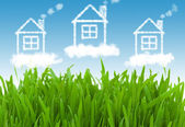 Häuser in den klaren himmel — Stockfoto