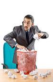 Man met veel verspilde papier — Stockfoto