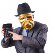Masked mwith calculator on white — Stock Photo #9181016