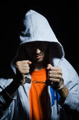 Young criminal with handcuffs — Stock Photo