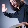 Man playing drum in studio — Stock Photo #9288196