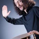 Man playing drum in studio — Stock Photo #9288196
