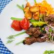 Plate with tasty lamp kebabs - Photo