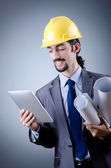 Construction worker working on tablet — Stock Photo