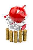Piggy bank and shopping cart on white — Стоковое фото