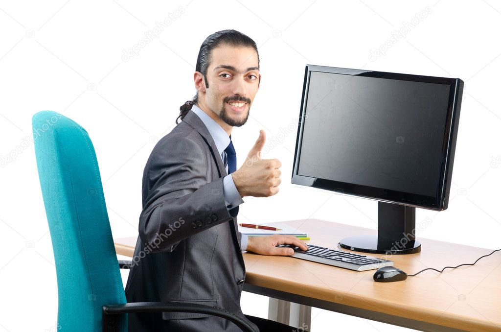 Busunessman working on the computer — Stock Photo #9287633