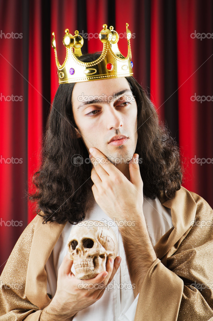 Funny king against red curtain — Stock Photo #9287849