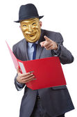 Espionage concept with masked man on white — Stock Photo