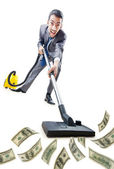Businessman with vacuum cleaner on white — Stock Photo