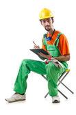 Beyaz izole inşaat işçisi — Stok fotoğraf