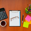 Desk top with many items — Stock Photo #9374212