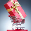Christmas shopping concept with shopping cart — Foto de Stock