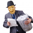 Stock Photo: Espionage concept with masked mon white